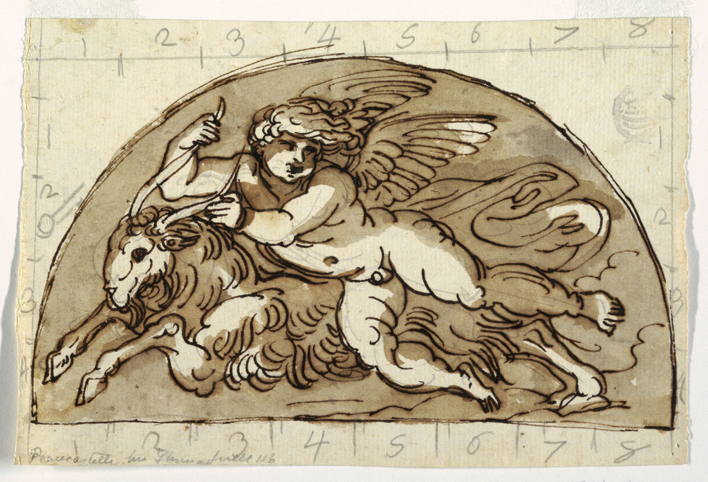 Winged putto reclining on goat in a demi lune.