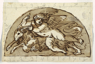 Drawing, Capricorn, Lunette for Ceiling of the Sala Ottagonale, Palazzo Milzetti, Faenza