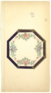 Decoration for octagonal plate with deep blue-black border covered partially with gold zigzag triangle motif. Inside is a wreath of pink and purple flowers connected by green leafy vines.