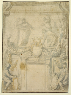 A study for mural decoration around a window, S. Giovanni in Valletta, Malta; Verso a sketch for a ceiling plan.  At top left, two women, possibly Salome, holding a platter and looking to the right as John the Baptist kneels down while a soldier above him is ready to strike down with a sword.  At center at each end two figures are seated holding an end of a garland.  At bottom center, a doorway with seated soldiers holding shields on either side.
