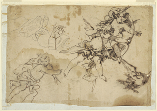 Three figures of putti flying: one carrying a fish, one a goose, and the other shooting with bow and arrow at a bird; separate study of a hand and floating drapery in upper left.