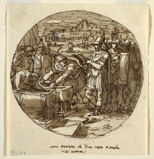 Drawing, Retrieval of Books from the Tomb of Numa, Sala di Numa Pompilius, Palazzo Milzetti, Faenza