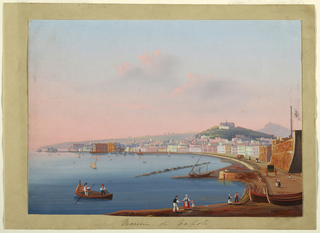 A Neapolitan drawing of the Marina of Naples at sunset. Buildings along a curved beach, with a hill in the right backgroud, a fortress on the right, several figures in the right foreground, and ships on the water.