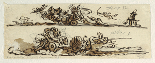 Page divided horizontally into two chariot scenes.