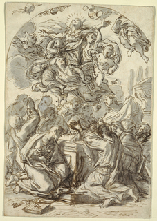 The figure of the Virgin held aloft by putti; below her are figures kneeling in prayer. Verso: head of a woman and child.