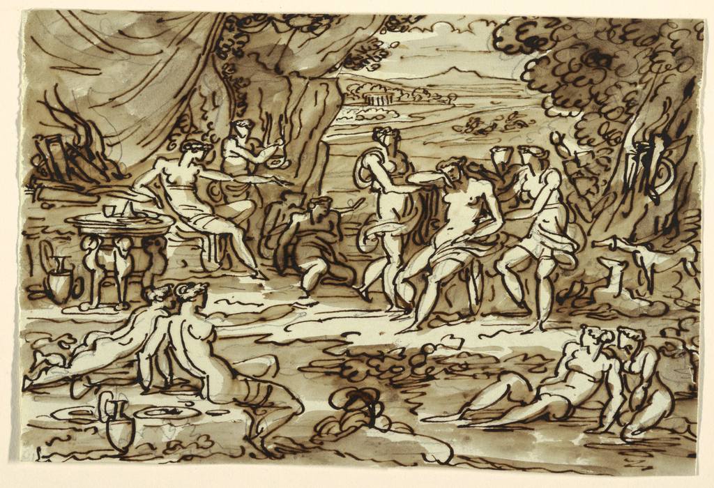 Diana seated in left middle distance, points at Callisto, who appears uncovered by three girls. More girls appear in foreground and middle distance along with two dogs. Situated under trees with distant view into valley, scene suggests rest after hunt. Verso: two pen sketches for girls, crouching one and lying one.  Inscribed above: Camera di pranzo casa/ Rasponi Ravenna.