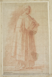 A youngish man, wearing clerical robes and skull cap, faces right with a book against his chest.