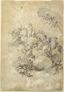 Drawing, Study for an Oval Ceiling Design, Apollo, Strength, and Love