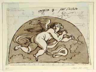Crouching winged female putto in a demi lune.