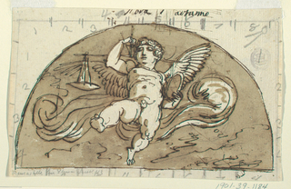 Winged putto with cross-bar, pair of scales, shaft and pan. Verso: caricature of standing man in a demi lune.