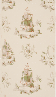 Vignettes of ships at sea, printed in browns and olives on off-white ground.