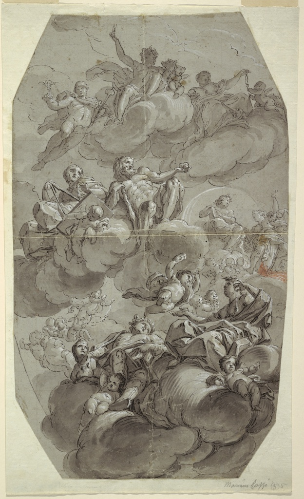 Vertical rectangle. Hermes flying alongside Bacchus and an unidentified goddess seated in the clouds.  Apollo and a muse, who holds a plumb-level, are seated on the row of clouds beneath them. Hercules is visible in the distance. Several putti are scattered amongst the gods in the clouds.