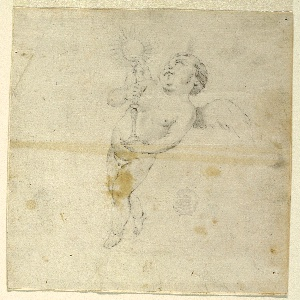 Figure of an angel or cherubim, standing upright and possibly in flight, turned toward the left, holding a monstrance.