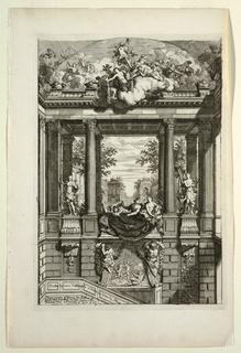 Print, Escallier du comte d'Albemarle a Voorte (Stairs of the Count d'Albemarle de Voorste), in Nouveaux livres de peintures de salles et d'escaliers (New Books on Paintings for Rooms and Stairs)