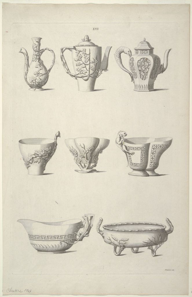 Print, Designs for Tableware, Plate XVI of Designs of Chinese Buildings, Furniture, Dresses, Machines and Utensils.