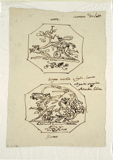 """Top: Selene rides upon chariot with two horses towards left. Flying putto with torch accompanies her. Trophy consisting of bow and quiver shown at bottom. Caption, written with ink on top: """"notte""""; top right: camera da letto"""". Bottom: Apollo rides in chariot with four horses toward right. Arc of zodiac in rear. Trophy with lyre shown at bottom. Caption, beneath: """"Giorno."""" Written center: """"Giorno(Giugno?) canchro Luglio leone/ Agosto vergine/ Settembre libra."""""""