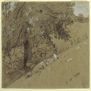 Drawing, Shepherdess Resting Under a Tree