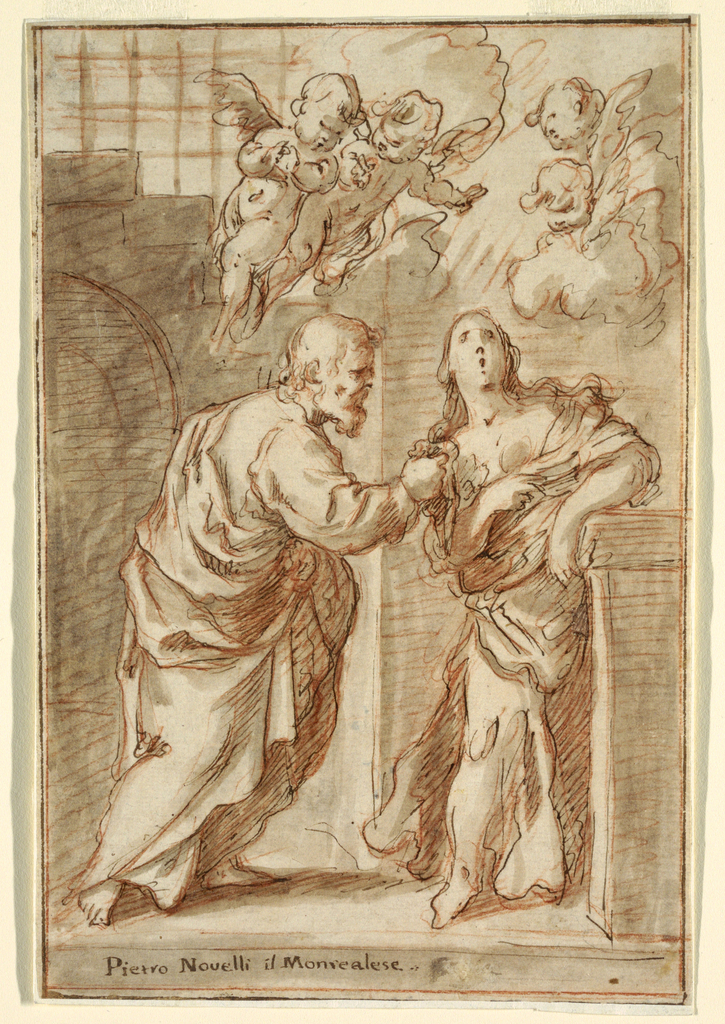 Two figures, a man on the left looking at a woman on the right whose mouth is open, as putti fly overhead.