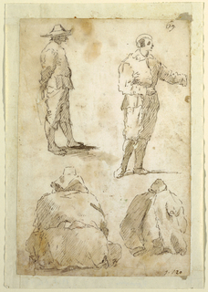At top, two standing men. Below, two seated figures with hats.