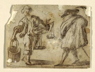 Drawing, A fish peddler.  A gentleman.