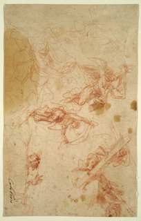 Sketches of two winged angels flying and each carrying a large shroud in their hands. At lower right, sketches of two winged angels flying and carrying large crosses across their chesst.  At top left, outline sketches of figures.