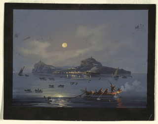 A Neapolitan nocturne with water in the foreground and land in the background. A full moon reflects light on the water next to a boat in the foreground.