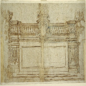 Horizontal rectangle consisting of two separate pieces of paper. The left side of the central part was missing; it was later added when the drawing was mounted. Three steps lead up to the altar, which is flanked by pilasters. At the top there is a high and richly molded decorated ledge, which projects laterally. In the center is a scrollwork frame, which shows three cherubim on an oval-shaped tabernacle door. Above the frame is a pedestal ornamented with angels and clouds. Two adult angels lean against either side of the ledge. Each angel holds a wreath; the angel on the right also holds a palm branch. A vase stands beside the left angel.