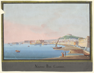 A Neapolitan landscape showing the view from Carmine of the Mediterranean Sea near Naples (caption reads Napoli dal Carmine, or Naples from Carmine). Buildings along a curved beach, with a hill in the right backgroud, several figures in the right foreground, and ships on the water.