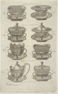 Eight designs for silver salts and mustard pots. Numbered 333, 334, and 336. Prices for each pieces (in ink).