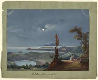 A Neapolitan nocturn showing the view from the Camaldoli Hill looking towards the coast (the caption reads Veduta dal Camandoli, or view from Cama[n/l]doli). At center, a full moon; in the background a mountain (Vesuvius?), water and land in the middle ground and two figures in the right foreground.
