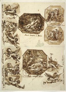 "Top center: in a landscape, Psyche lies nude in the lap of seated Cupid, holding a wreath over his head. Caption: ""Baccio d'amore e Psiche."" Beneath: sketch for another pose of Psyche. Top right: two octagons with Psyche standing, showing butterfly incorporating soul to seated Cupid. Pose of Cupid altered in lower design in which composition more concentrated. Written between designs: ""amore Psiche contempla l'anima."" Bottom center: octagon, showing Psyche kneeling upon bed contemplating sleeping Cupid. She raises lamp with left hand, ""Psiche contempla Amore."" Bottom right horizontally, at left: Cupid running toward left; he holds lighted torch, butterfly flies over, ""l'amore consuma l'anima."" At right: Cupid flies toward right blowing trumpet, holding bow in right hand, ""fama d'amore."" Along left edge, horizontally, six representations of Cupid. First shows him standing, turned toward right after having shot arrow, ""Amore scocco il dardo."" Second Cupid stands turned toward left, bends bow, ""amore inqurva larco/ l'anima."" Third Cupid runs toward right, holding golden apple in left hand, ""Amore trionfa di/ Paride."" Fourth Cupid dances toward right holding flowers in both raised hands, ""Amore sparge fiori sulli talami."" Fifth Cupid standing playing lyre and singing, caption: ""amore sona la lira/ Danacreonte."" Sixth Cupid walks toward right, holding lighted torches in both hands, ""Amore acende le/ faci."" Reverse: in opposite direction, top left: three rough pen sketches of square panels, two of which show child in wreath. Third one with flourish in oblong frame, struck out."