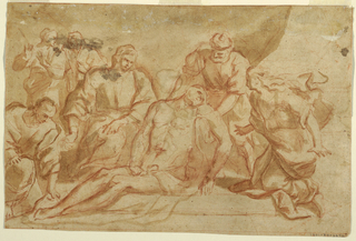 St. John and one of the Elders have begun to carry the corpse away.  Mary Magdalene kneels at right, the Virgin sits at left. Two persons are at left in the middle ground. Verso: The Virgin sits at the opening of the cave. The dead Christ leans against her right leg. A woman kneels at right, at left Mary Magdalene holds the right hand of Christ. In the left middle ground are St. John and the two Elders around the sarcophagus. One of the latter supports the urn with the water of the washing. Framing crayon line.