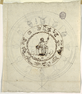 A circle with enthroned Zeus at the center. Framing him is a laurel wreath. Surrounding this are symbols of the zodiac.