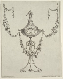 An urn stands upon a tripod and is decorated with ivy boughs and flower garlands. Framing line laterally. Bottom margin: John Edwards Invt & Sculpt; Published as the Art Directs Septr. 1st 1783.