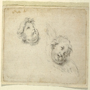 At top left, a raised head of a child shown from the right lower jaw. At lower right, a cherub's face and wings obliquely shown.
