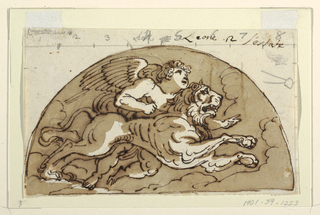 Winged putto riding a lion within a demilune.  Verso: Pen and brown ink. Trapezoid cut by arc.