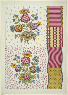 Textile design with variations. Two floral designs, upper and lower left, with central posie. Upper background is small yellow flowers, while lower design has denser red vine and flower pattern. Four band designs at right: horizontal stripes bound by gold twists, vertical bands of red circles on yellow, wavy vertical stripes in pink and red, and wavy gold band with small crescents.