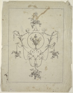 #7 of a set. A circular medallion with an urn is surrounded by floral motifs. Flower baskets are suspended from brackets on top and at the bottom, and flower branches from agricultural tools laterally. Right top corner: No. 7. Two framing lines. Bottom margin: J. Edwards Del. et sculpt; Pub,d as the Art Directs June 1784