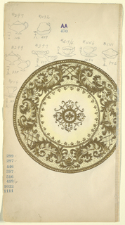 Design for a plate decorated with gold C-scrolls and trellis; at center a floral motif within a circle. Several sketches of tableware in graphite, upper margin.