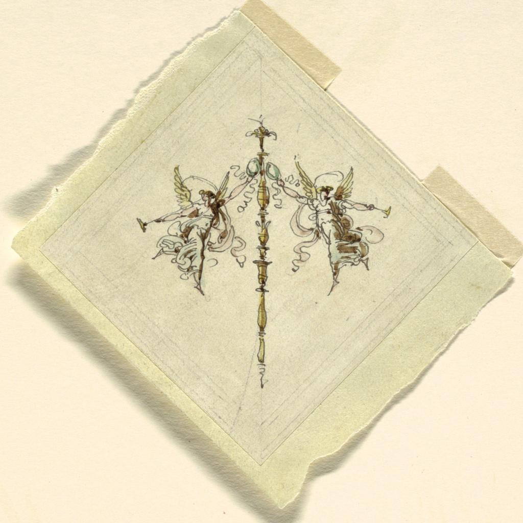 Drawing, Fame with Trumpet, Sala di Recezione, Palazzo Quirinale, Rome