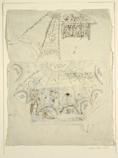 At top left in ink, one section of an octagonal ceiling; below in black chalk, one half of octagonal ceiling shown in plan. At top right in ink, an elevation of what may be same room.