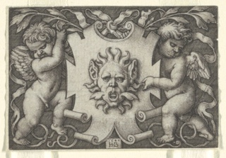 Print, A Mask Held by Two Genii, 1544