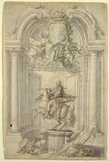 Design for an equestrian monument of Charles III. The male figure seated upon his horse, whose front legs are raised and hind legs are anchored to a pedestal below. Upon the base of the pedestal is a mounted plaque with horizontal lines indicating inscribed text. At the base of the statue is an array of objects including military armor and helmets, a drum, a cannon, and flags/banners. Beyond the statue is a colonnaded arch opening onto a scenic landscape view. Above, an escutcheon supported by angelic figures and putti.