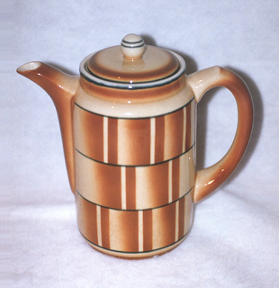 Tall cylindrical pot narrowing to a circular band at the rim with a c-shaped handle across from a spout rising up from three fourths of the way down the pot.  Cream ground with black lining the top rim and then four more lines of black creating horizontal bands of airbrushed brown or cream.  Brown also colors the band at the rim, the spout, and the handle.  Circular cover with a black line aand brown near edge and a ball finial decorated with two lines of black.