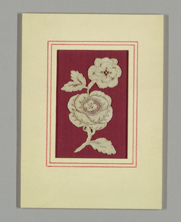 Isolated flower motif has two blossoms with leaves.