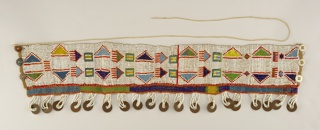 Wide beaded band with blue, green, yellow, red geometrical pattern on white background; row of metal coins attached at lower edge by strings of white beads; 3-button closing.