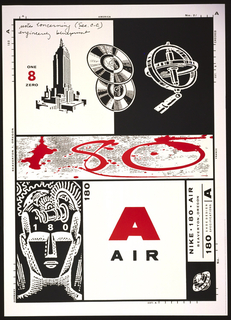 Nike 180 Air specifications poster depicts in black and white, upper left, the Empire State building; upper center, records; upper right: measuring instrument. At the center, in red: 80. Lower section depicts an abstract male head and on the right: 180 / A / AIR. Also lower right is the name and brand of the shoe. Marginal markings in black.