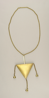 Large triangular pendant on chain; three pendant balls hanging from chains along base of triangle.