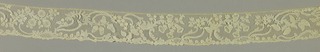 A scalloped border with a serpentine arrangement of flowers and fruits.
