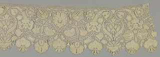 Needle lace with vertically symmetrical pattern with cornucopia and flowering vines. Edges of pattern outlined by buttonhole stitches over a cord.